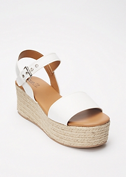 White Strappy Espadrille Flatform Sandals