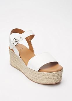 White Grommet Buckle Espadrille Flatform Sandals