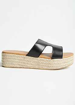 Black Cutout Espadrille Platforms