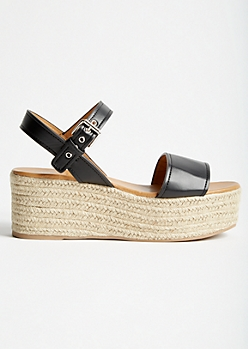 Black Double Strap Espadrille Platforms
