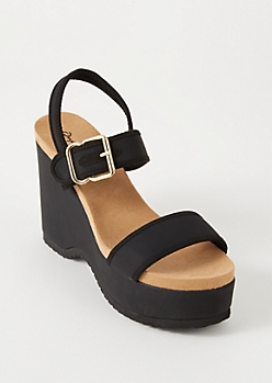 Black Buckle Platform Wedges