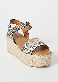 Snakeskin Print Platform Espadrille Sandals