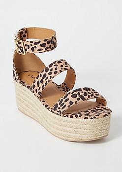 Leopard Print Platform Espadrille Sandals