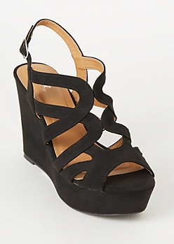 Black Faux Suede Cutout Wedge Heels