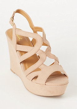 Tan Faux Suede Cutout Wedge Heels