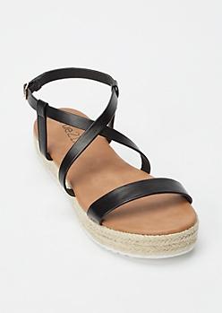 Black Crisscross Espadrille Flatform Sandals