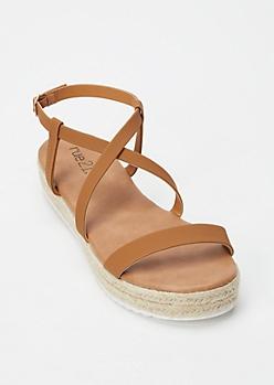 Cognac Crisscross Espadrille Flatform Sandals