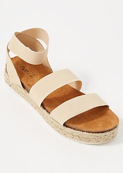 Nude Strappy Espadrille Platform Sandals