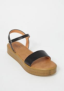 Black Faux Leather Platform Sandals