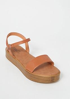 Cognac Faux Leather Platform Sandals