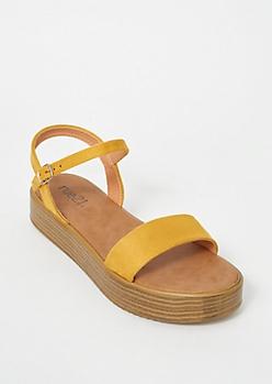 Mustard Faux Suede Platform Sandals