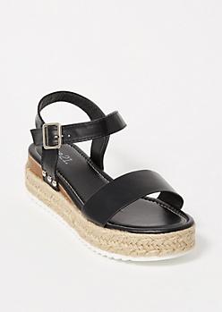 Black Studded Strap Platform Sandals