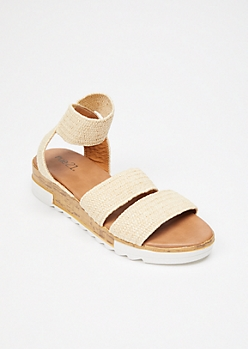 Tan Raffia Cork Flatform Sandals
