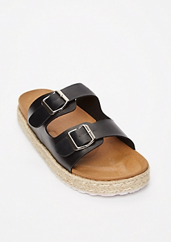 Black Double Buckle Espadrille Flatforms