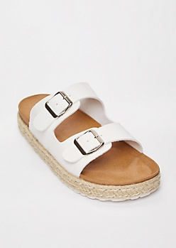 White Double Buckle Espadrille Flatforms