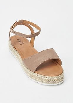 Taupe Espadrille Flatform Sandals
