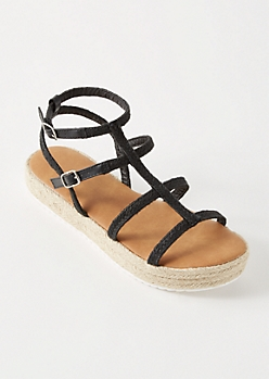 Black Gladiator Espadrille Platform Sandals