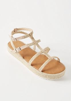 Taupe Gladiator Espadrille Platform Sandals
