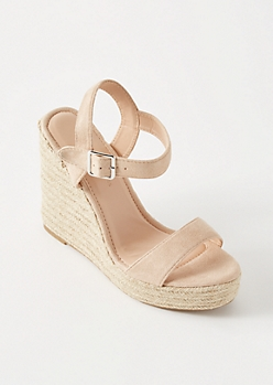 Nude Wrap Ankle Espadrille Wedges
