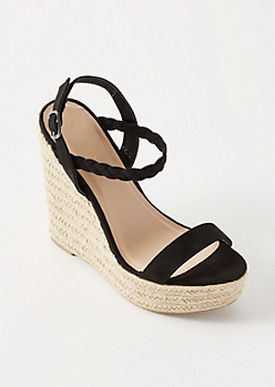 Black Braided Ankle Espadrille Wedges