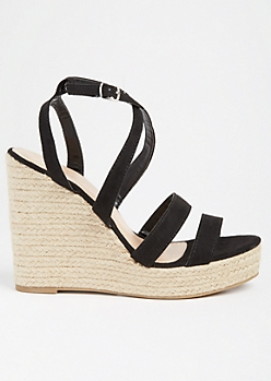 Black Strappy Open Toe Espadrille Wedges