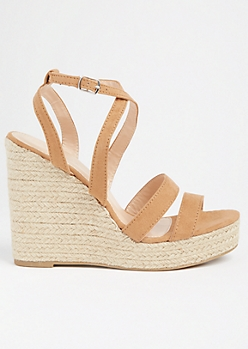 Tan Strappy Open Toe Espadrille Wedges