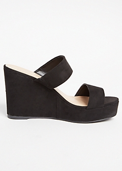 Black Faux Suede Two Band Strappy Wedges