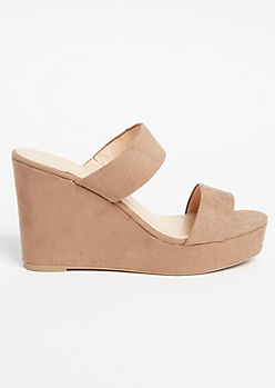 Taupe Faux Suede Two Band Strappy Wedges