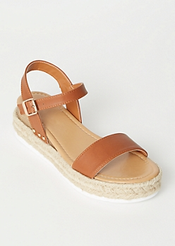 Cognac Faux Leather Espadrille Wedges