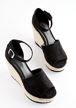 Black Espadrille Wedge Heels