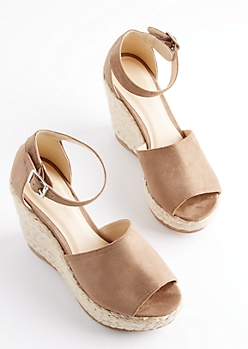 Tan Espadrille Wedge Heels