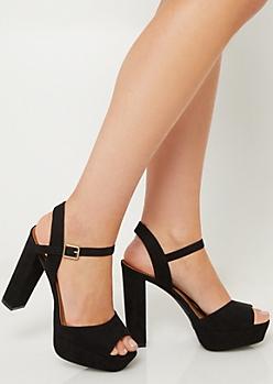 Black Peep Toe Platform Heels