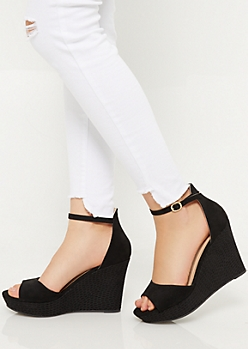 Black Faux Snakeskin Peep Toe Wedges