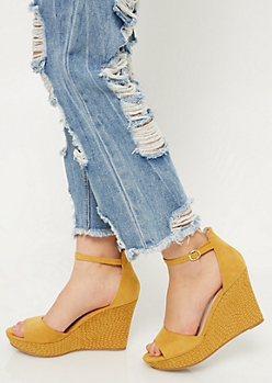 Yellow Faux Snakeskin Peep Toe Wedges