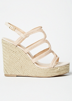Nude Braided Strappy Espadrille Wedges