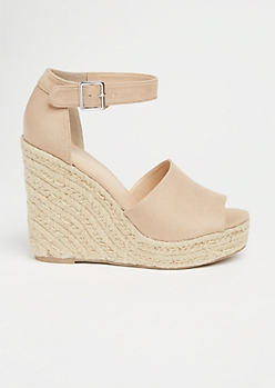 Nude Ankle Strap Espadrille Wedges