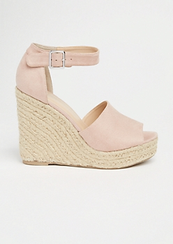 Pink Ankle Strap Espadrille Wedges
