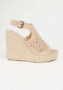 Nude Perforated Sling Back Espadrille Wedges