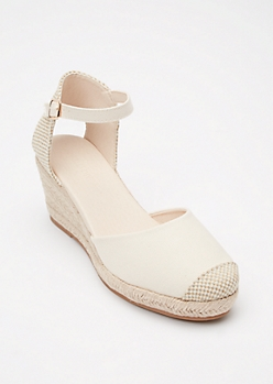 Ivory Checkered Canvas Low Espadrille Wedges
