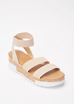 Tan Crisscross Lug Sole Flatform Sandals