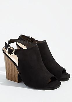 Black Peep Toe Slingback Heels