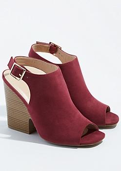 Burgundy Peep Toe Slingback Heels