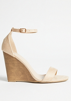 Nude Faux Suede Ankle Wedges