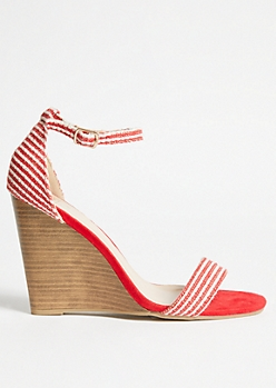 Red Striped Faux Suede Ankle Wedges