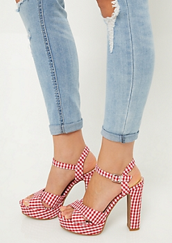 Red Gingham Peep Toe Platform Heels