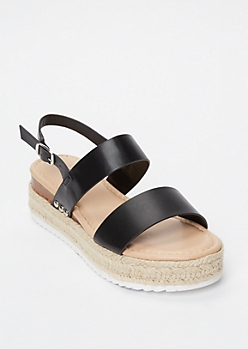 Black Faux Leather Espadrille Wedges