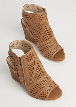 Tan Geo Cutout Wedge Heels
