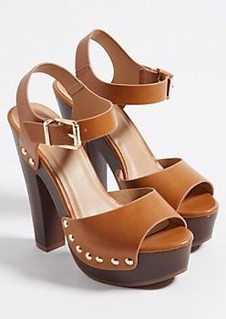 Cognac Peep Toe Studded Platform Heel