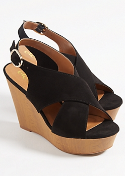 Black Cross Strap Peep Toe Platform Wedges