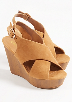 Cognac Cross Strap Peep Toe Platform Wedges